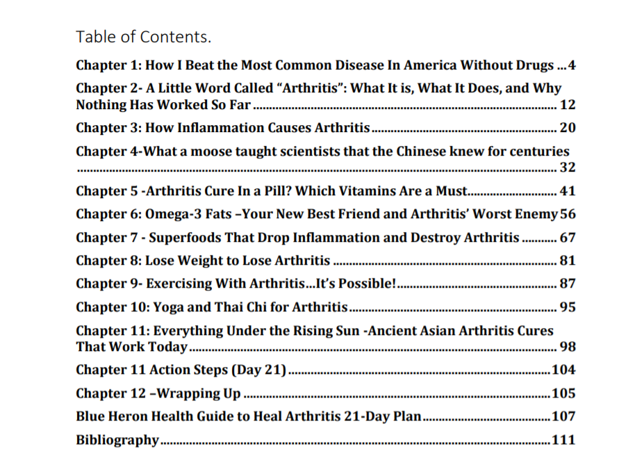 the beat arthritis strategy review table of contents