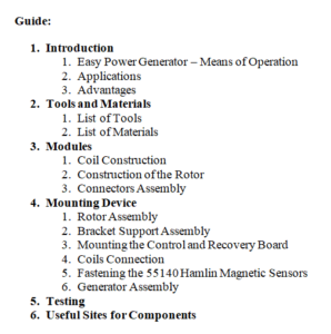 easy power plan table of cotents